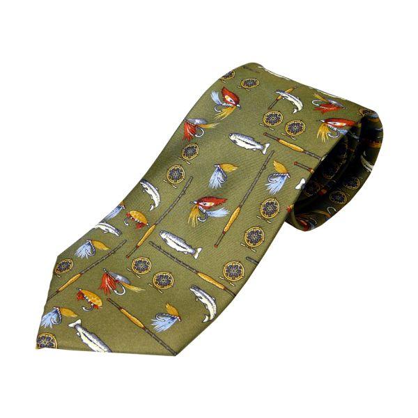 Olive Fisherman's Printed Silk Tie