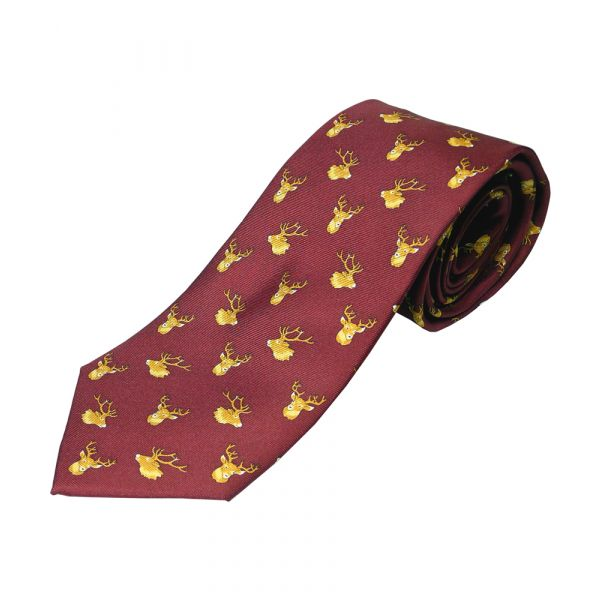 Wine Stags Head Printed Silk Tie