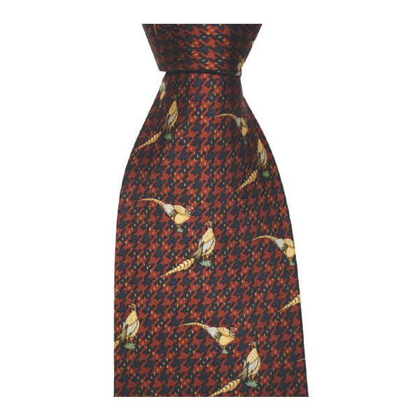 Red Check Design Pheasants Printed Silk Tie