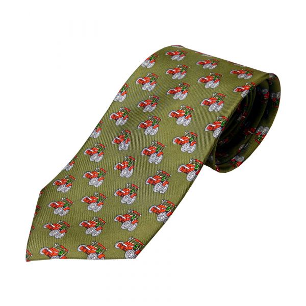 Green Printed Silk Tie with Red Tractors