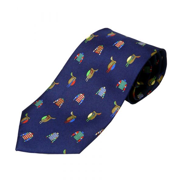 Racing Colours Navy Printed Silk Tie