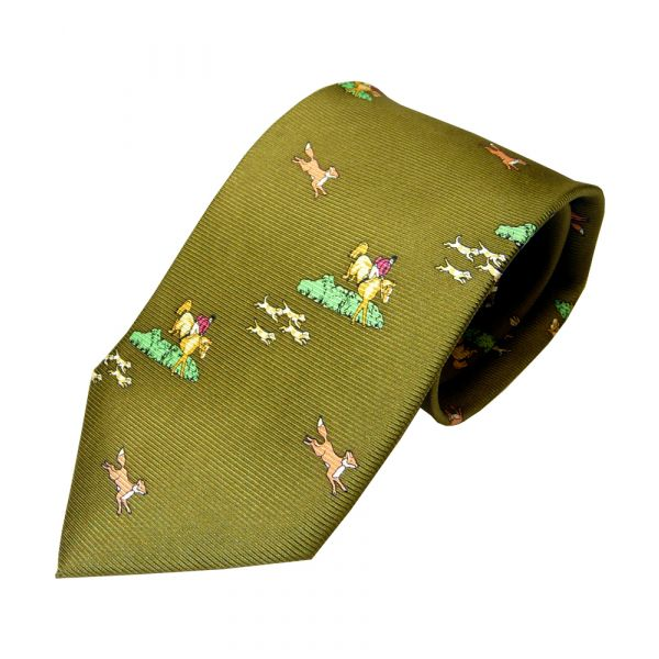 Green Horse and Hound Printed Silk Tie
