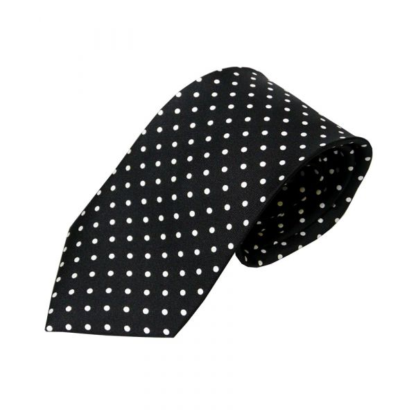 Black with White Spots Silk Tie