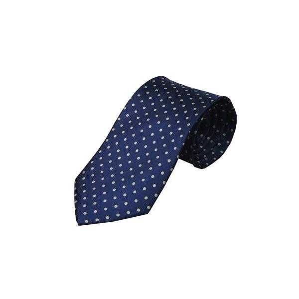 Navy with White Spots Silk Tie