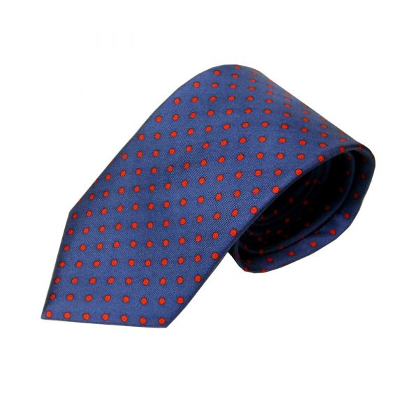 Navy with Red Spots Silk Tie