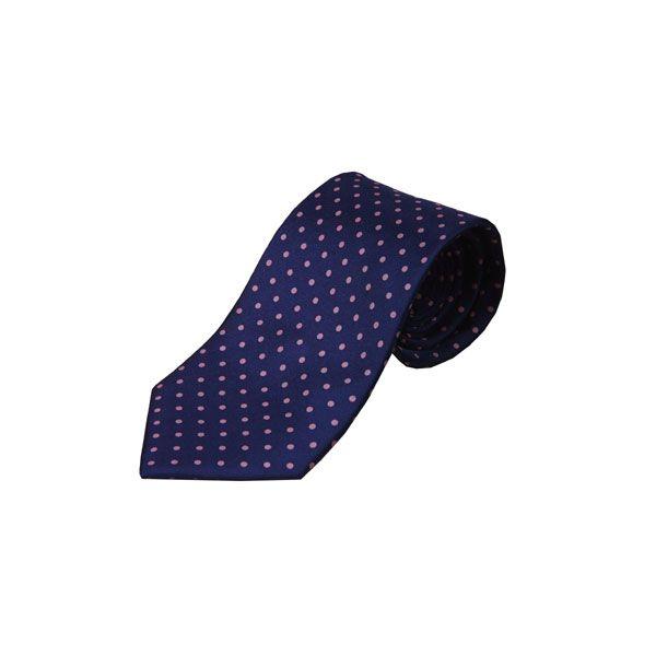 Navy with Pink Spots Silk Tie