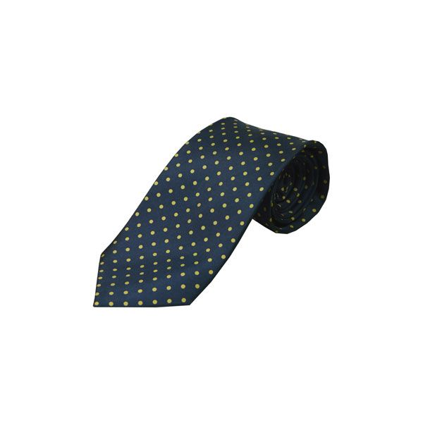 Navy with Yellow Spots Silk Tie