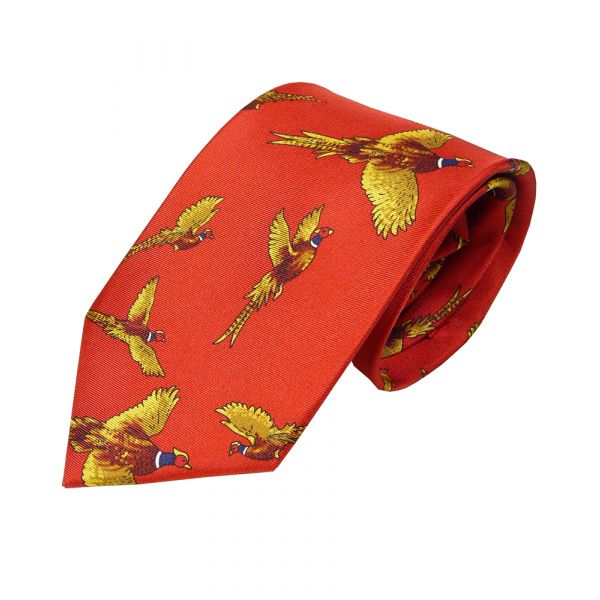 Silk Tie in Red with Flying Pheasant Design