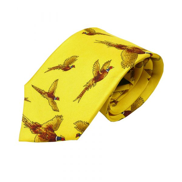 Silk Tie in Gold with Flying Pheasant Design