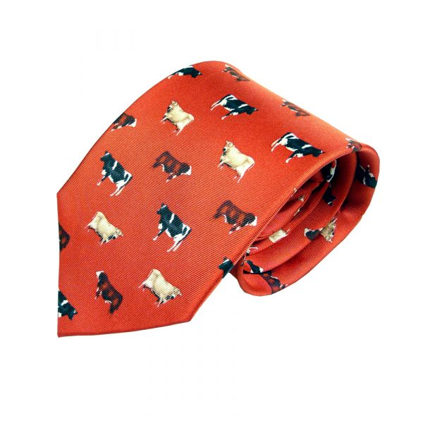 Silk Tie in Red with Cows Design