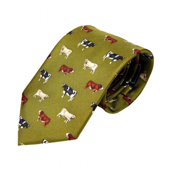 Silk Tie in Green with Cows Design
