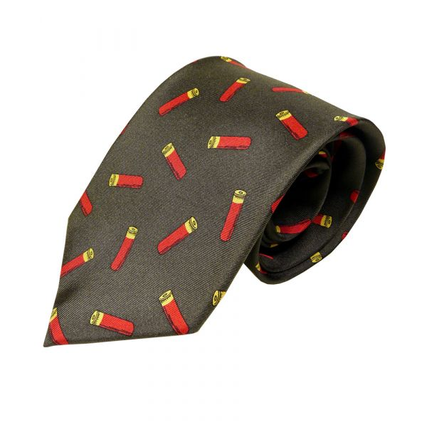 Silk Tie in Green with Red Cartridges Design