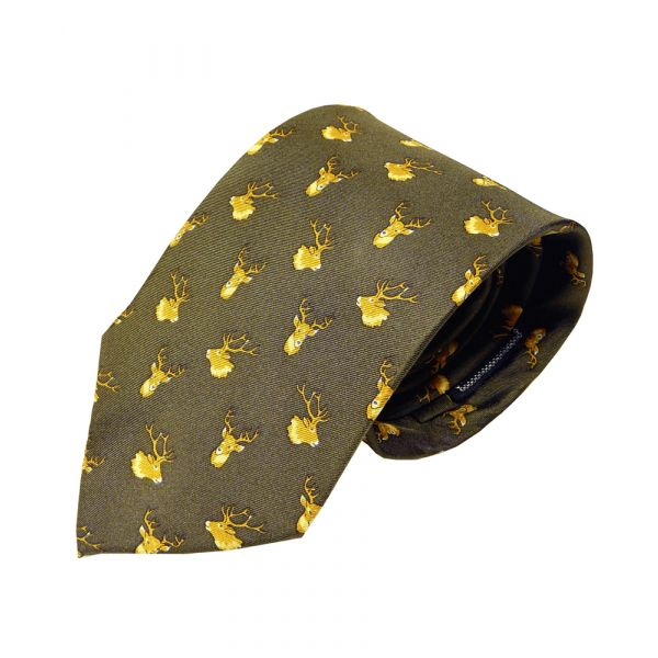 Silk Tie in Green with Stags Head design