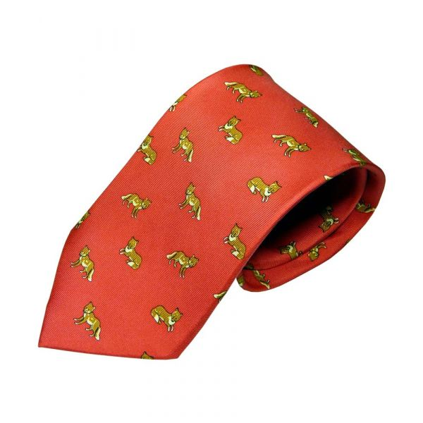 Silk Tie in Red with Foxes Design
