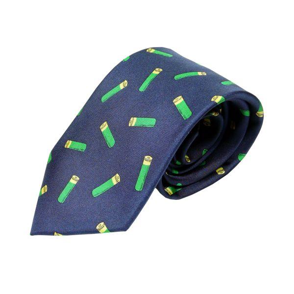 Silk Tie in Navy with Green Cartridges Design