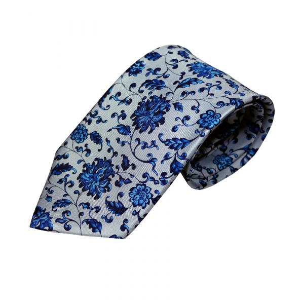 Blue Chinese Flower Silk Tie by Fox & Chave