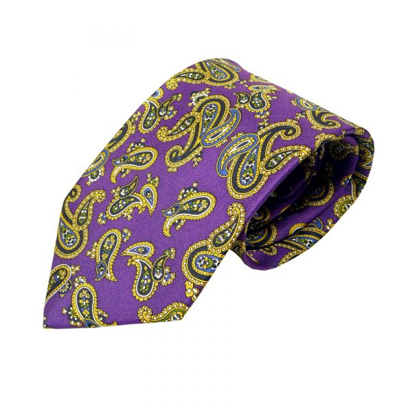 Silk Tie in Purple Paisley Design