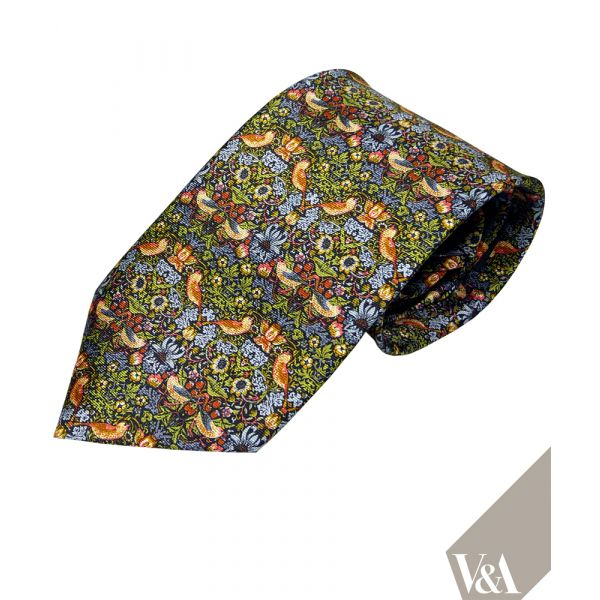 Morris Strawberry Thief in Green Silk Tie by Fox & Chave