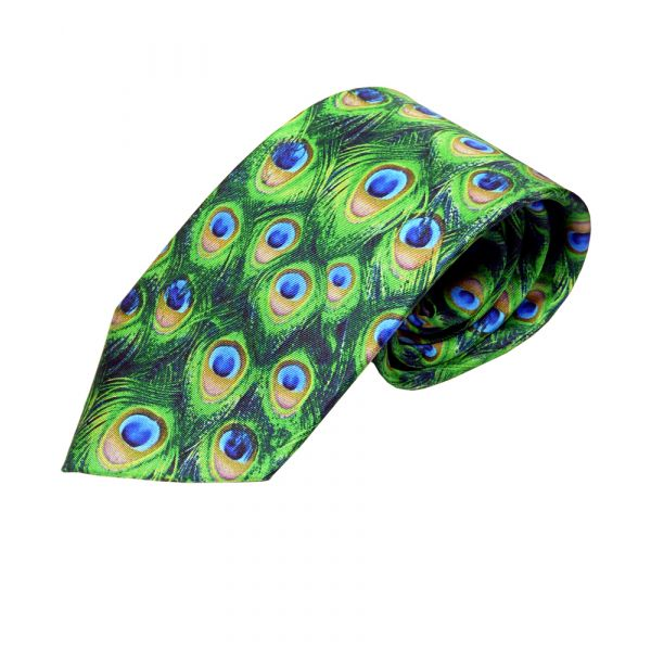 Peacock Feather Silk Tie by Fox & Chave