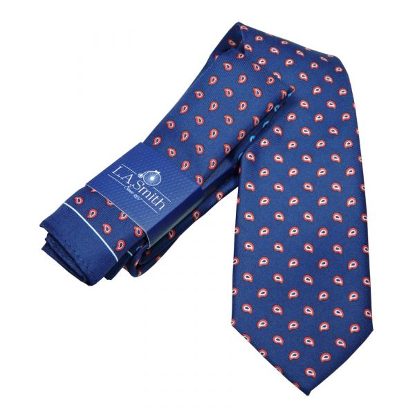 Navy Blue with Red Paisley Design Tie and Four Colour Hankie Set