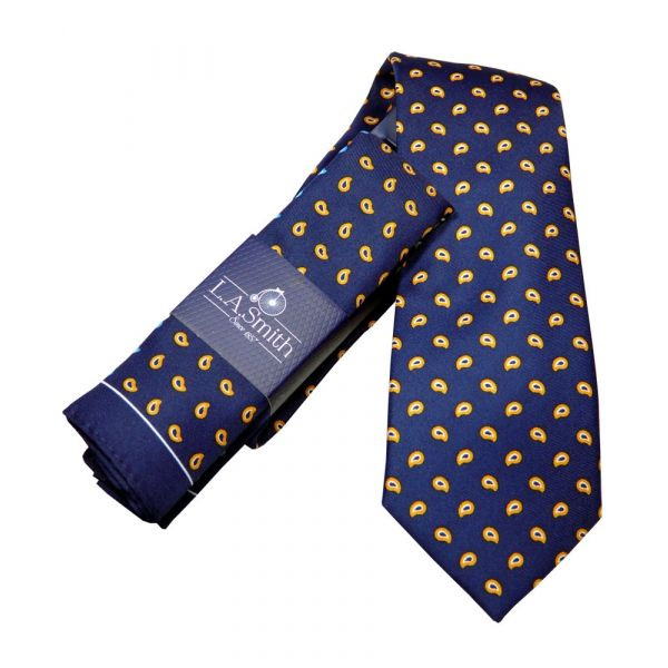 Navy Blue with Orange Paisley Design Tie and Four Colour Hankie Set
