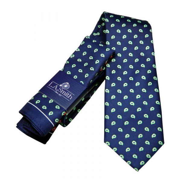 Navy Blue with Green Paisley Design Tie and Four Colour Hankie Set