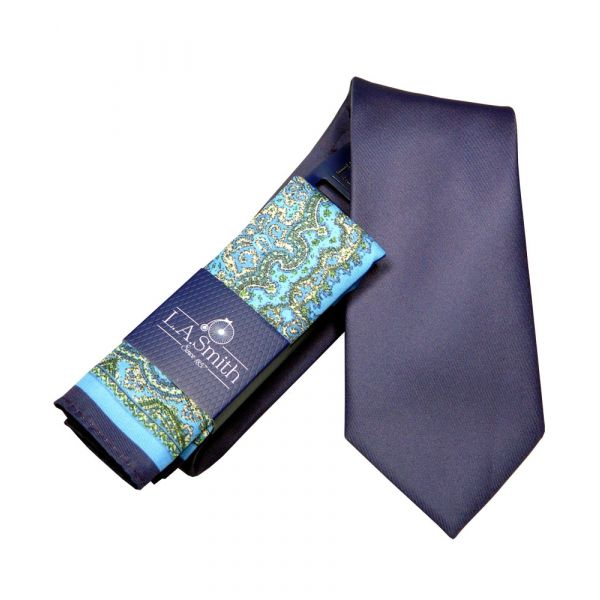 Purple Tie and Teal Patterned Hankie Set