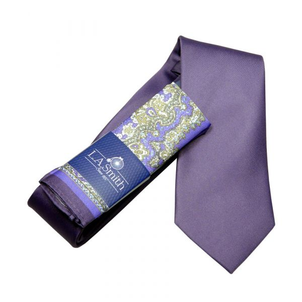 Purple Tie and Purple Patterned Hankie Set