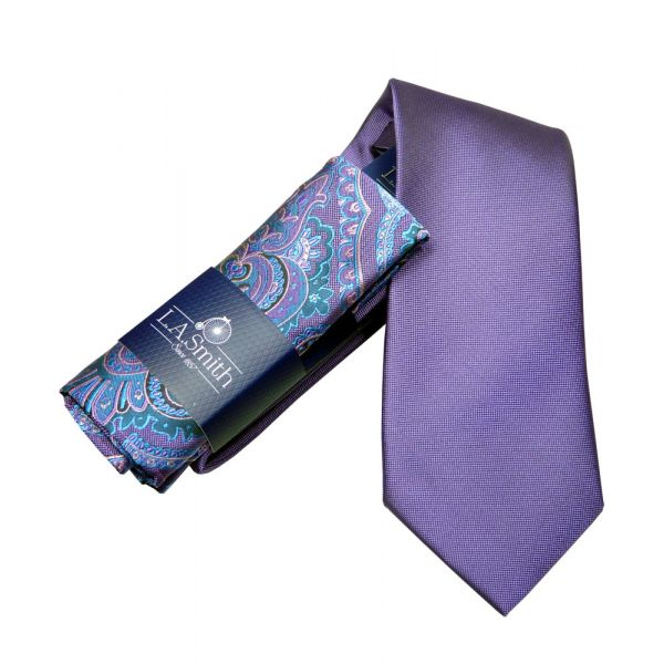 Purple Tie and Purple Paisley Hankie Set