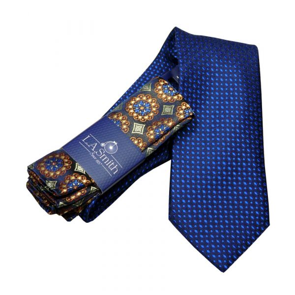 Blue Specks Tie and Medallion Design Hankie Set