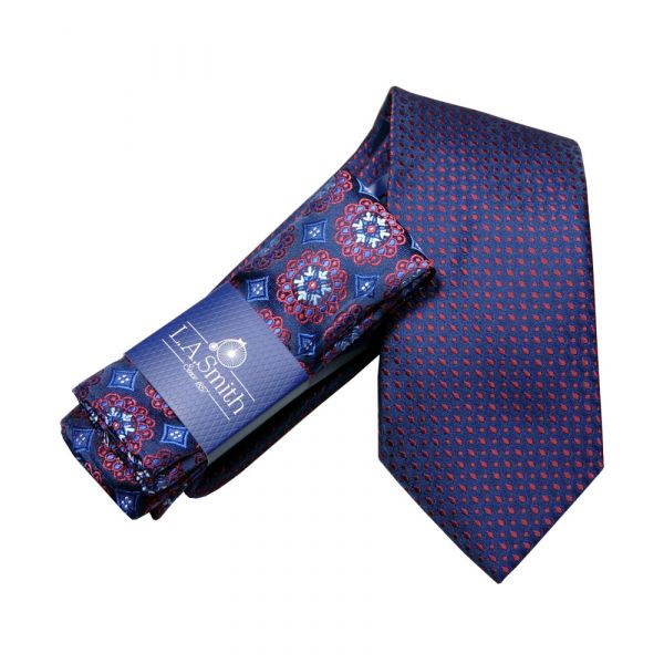 Red Specks Tie and Medallion Design Hankie Set