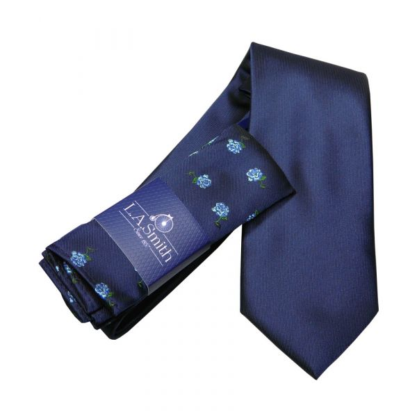 Navy Tie and Blue Rose Hankie Set