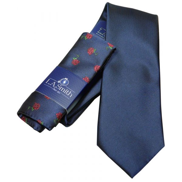 Navy Tie and Red Rose Hankie Set