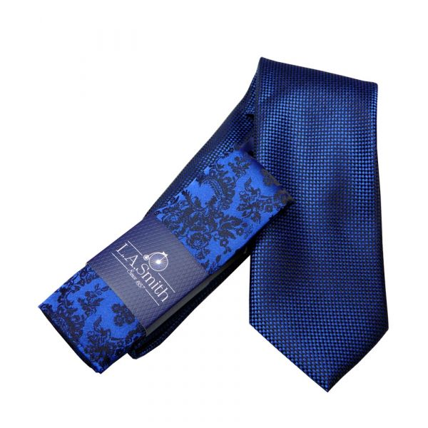 Blue Squares Tie and Floral Hankie Set
