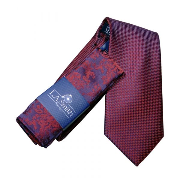 Wine Squares Tie and Floral Hankie Set