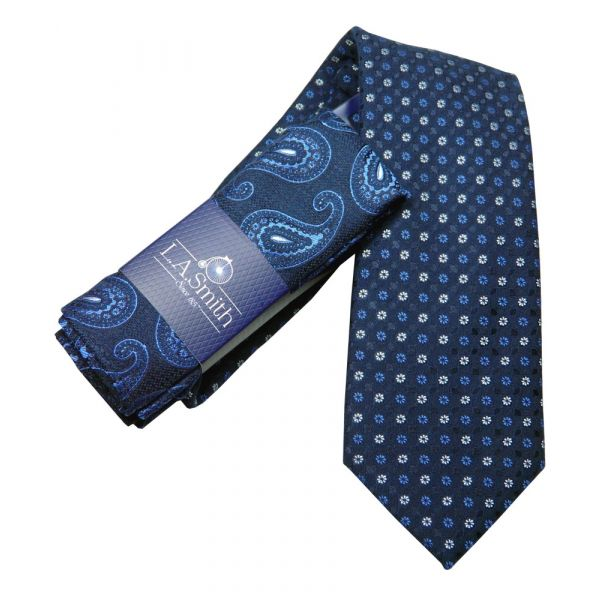 Blue Flower Dot Tie and Paisley Hankie Set