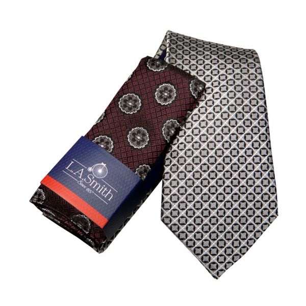 Silver Grey Silk Tie and Wine Medallion Design Silk Hankie Set