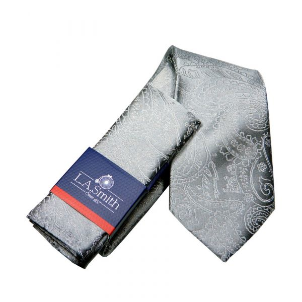 Grey Relief Paisley Silk Tie and Matching Hankie Set