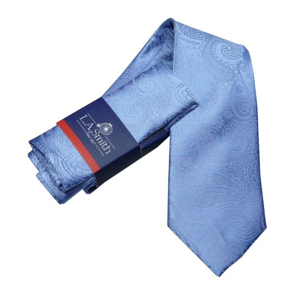 Blue Relief Paisley Silk Tie and Matching Hankie Set