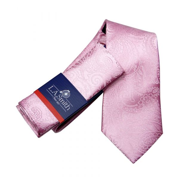 Pink Relief Paisley Silk Tie and Matching Hankie Set