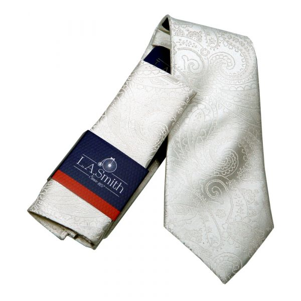Ivory Relief Paisley Silk Tie and Matching Hankie Set