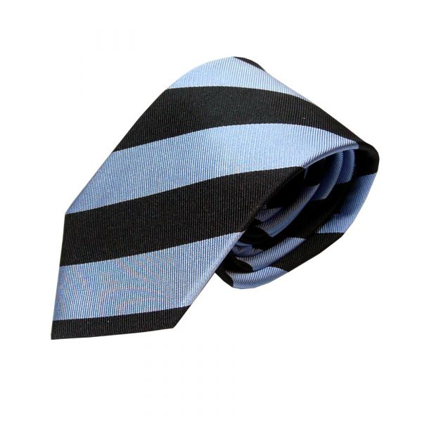 Black and Sky blue Broad stripe tie