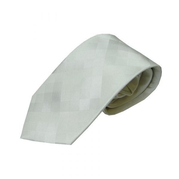 White Shadow Diamonds Silk Tie