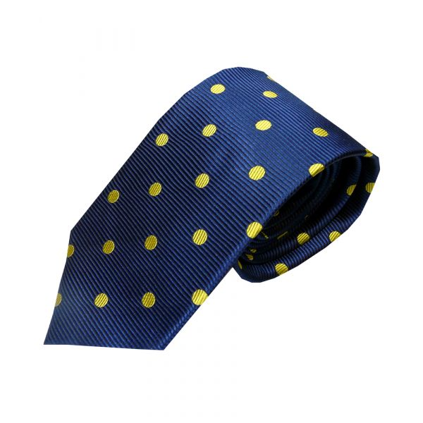 Navy waffle tie with yellow spots