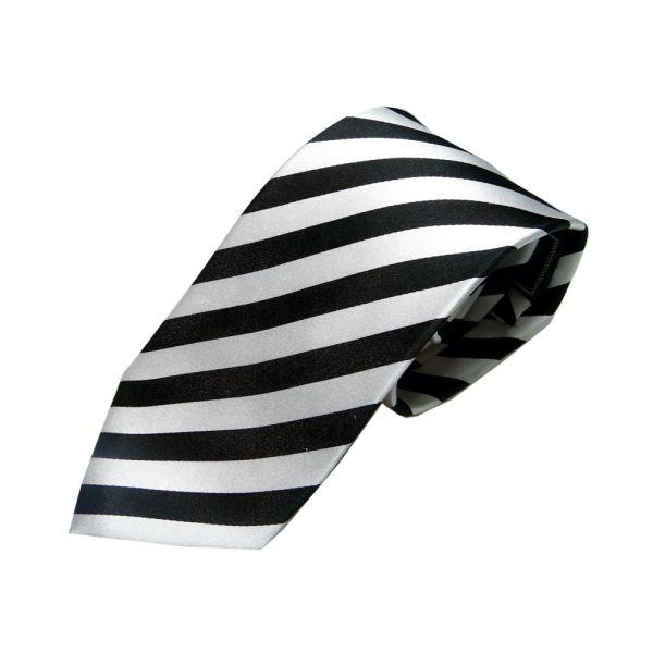 Black and White Satin Stripe tie