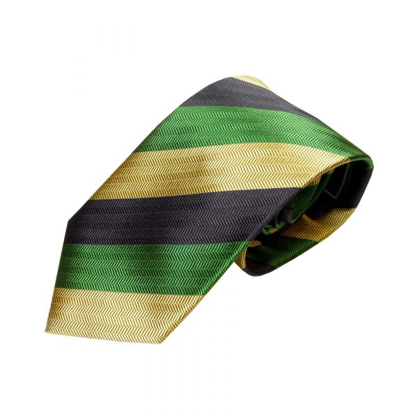 Green navy and gold  striped tie