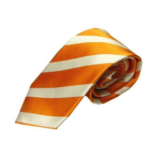 Orange striped silk tie