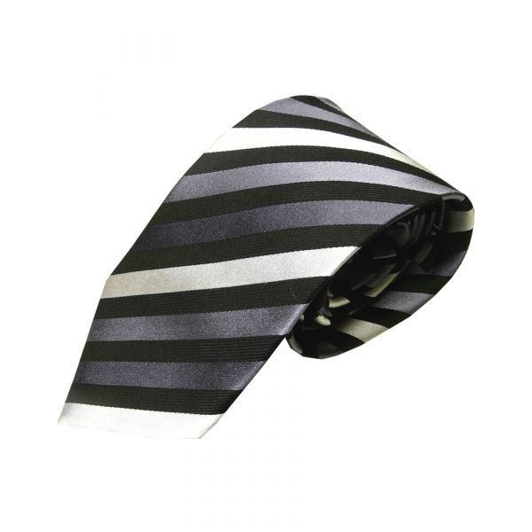 Black Grey and White Striped Silk Tie
