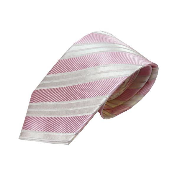 Pink with thin double white stripe silk tie