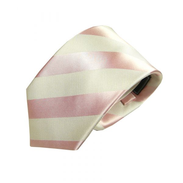 Pink and White Regimental Stripe Woven Silk Tie